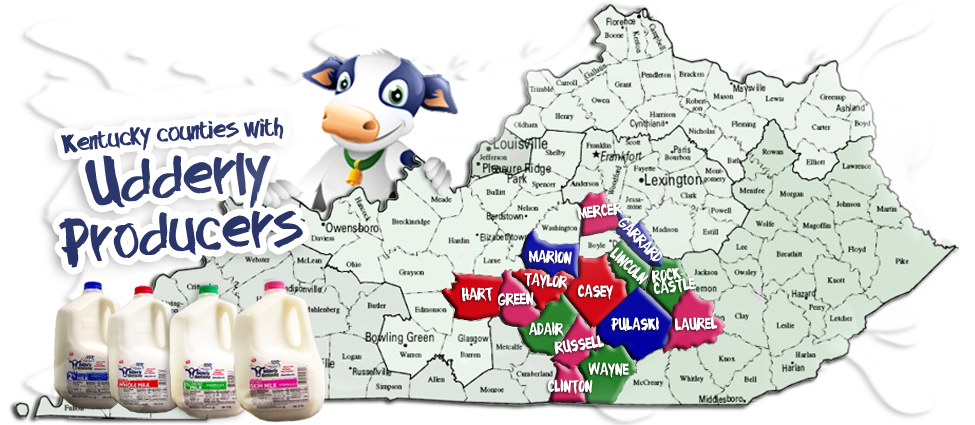 Kentucky counties with Udderly Kentucky producers.